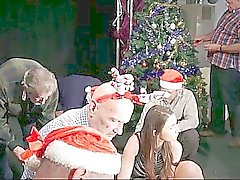 8 perv old men gangbang siliconed Santa lady