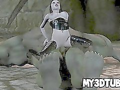 Furbo 3D Babe del goth scopata a duro da un orco