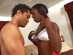 Ebony cheerleader loes to ride a hard cock