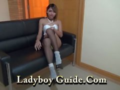 Tattooed Ladyboy Wanks In Asian Hotel