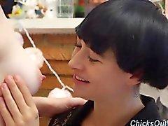 Real aussie lesbian licks the sweet pale milky boobs