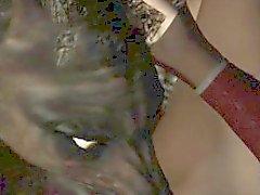 3D morena lamió y follada por un hombre lobo