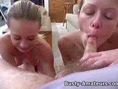 Busty Sunny and Holly gives double blowjob