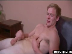 Beautiful college twink filled with lust beats his meat