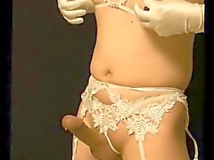 Hung Japanese crossdresser hands free cum