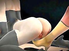3D-Cartoon- lesbische Superhero sich ihre Muschi lecken
