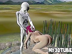 Foxy 3D babe sucking on an aliens rock hard cock