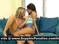 Morenaza angelical y rubia lesbianas besando y lamiendo