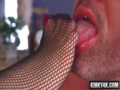 Hot slave femdom humiliation with cumshot