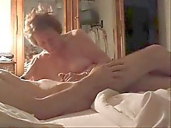 My silly aunt's best friend play with my cock. Hidden cam