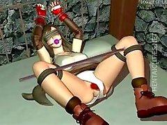 Hottie Hentai 3D- Sklaven wird hart festgenagelt