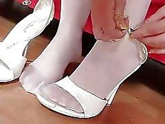 Açık Renkli Jennifer elastik bir külotlu çorap ayakları fetish asansör