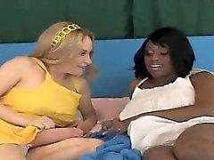 Flirty girls poke the biggest strap dildos and spray love ju