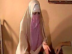 De Hijabi de Muslimah mierda esperma fuera de Gran tamaño Occidente de 10 pulgadas de