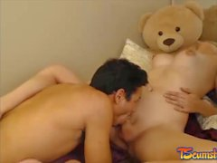 Blonde big tits tgirl anal sex boyfriend webcam