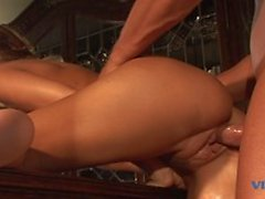 Horny babe gets banged hard from behind and takes cum on her tits