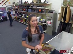 Busty amateur chick gets doggy styled in the pawnshop POV