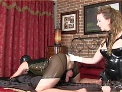 Mistress T prostate massage, pegging and ass fucking with strap-on slave