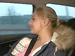 Huge tits blonde waitress in fake taxi