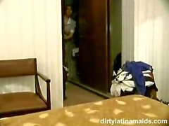 Latina Maid Happy to Service Guest