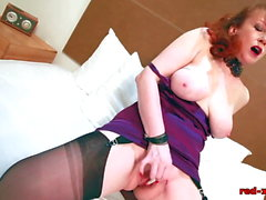 Mature Redhead In Lingerie Masturbating