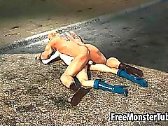 3D Power Girl gets eaten out and fucked hard