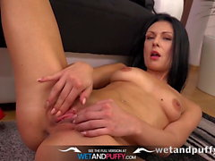 Sex Toys-Raven haired Kara fucks a monster sized black dildo