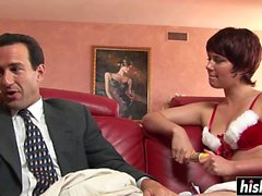 Short haired babe pleases a stiff schlong