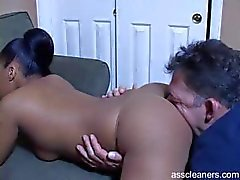 Ebony mistress bends over and demands man to lick her big ass
