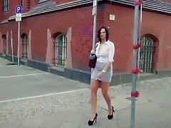 BumsBus - German hottie Sina Velvet gets hot facial in the van