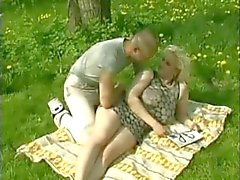 Fat Chubby Blonde with Big tits fucking her Lover outdoors