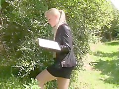Pissdrinking euroslut fucked in the forest