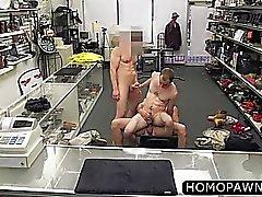 Hardcore trainer enjoys two huge cocks