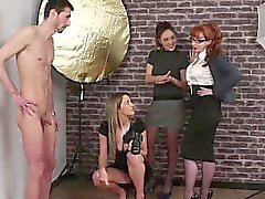 Naked British dude gets handjob by clothed CFNM babes