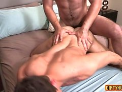 Muscle gay anal sex with creampie
