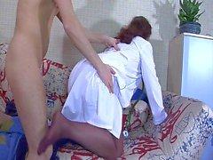 Plunp nurse with wide ass & guy