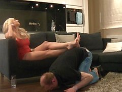Dannii Harwood enslaves husband with her feet