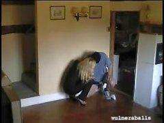 Blonde in Black Leggings Busts Some Weak Nads