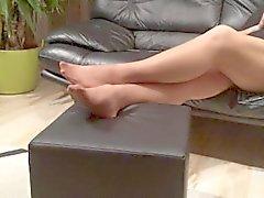 Uzun naylon ayaklar üvey annem tarafından oynuyor