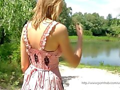 Blonde girl outdoor masturbation