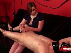 Brunette amateur ballbusting with cumshot