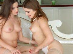 cena lésbica com Evalina querida e Diana Dolce por