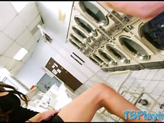 Big boobs shemale Madison Montag anal fucked at laundry area