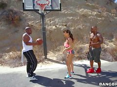 MILF Porn star Lisa Ann plays basketball with two black guys