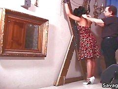 Sexy dona de casa Rosa é amarrado em cordas Part6