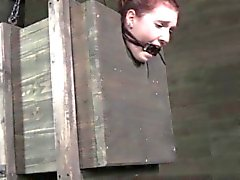 Nipplepierced redhead sub caned while tiedup in box