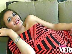 Keira Verga strokes her cock outfront
