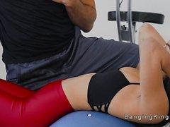 Petite Latina deep throats trainers huge cock