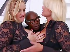 2 Blonde Sluts Let's Black Guy Use Ass Like Tube Socks
