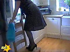 Retro Lingerie Ve Mavi İpek çorap amatör İngiliz MILF Housewife